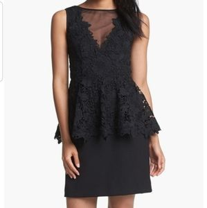 Betsy & Adam Black Lace Peplum Dress Size 4